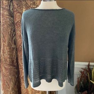 360 sweater perforated detail linen sweater